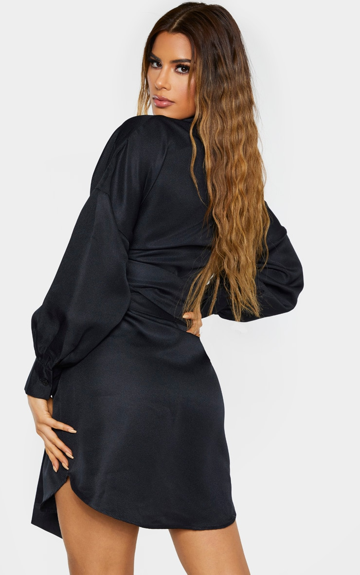 Tall Black Belted Tie Shirt Dress 2
