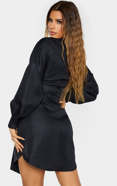 Tall Black Belted Tie Shirt Dress