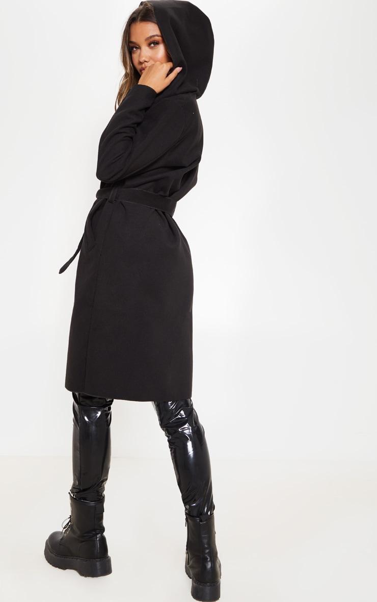 Black Waterfall Hooded Coat 2