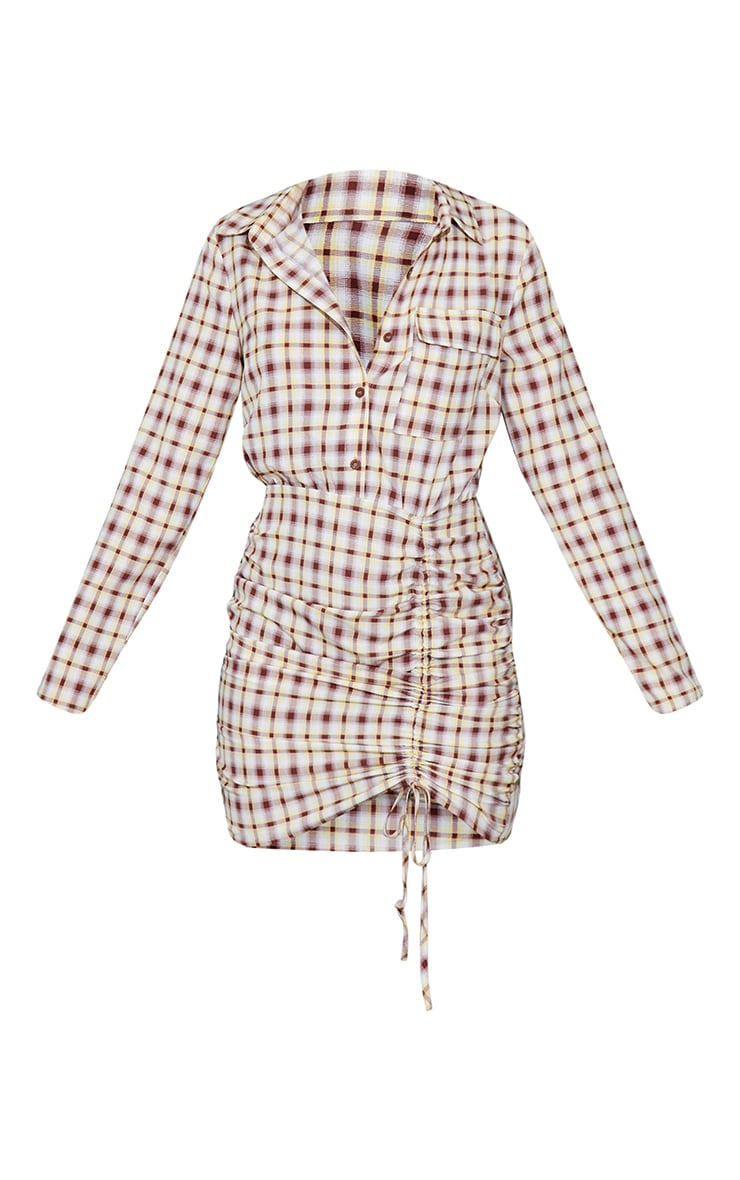 Stone Check Ruched Skirt Button Up Shirt Dress 5