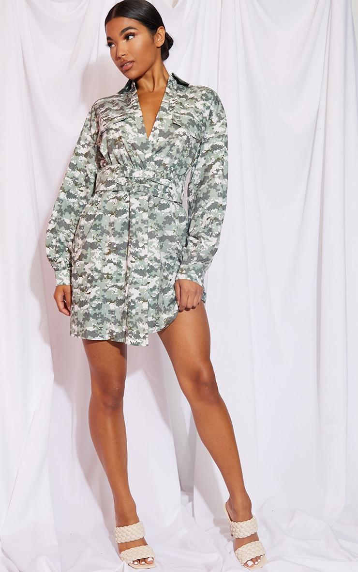 Khaki Pixilated Camo Plunge Waist Detail Long Sleeve Shift Shirt Dress 3