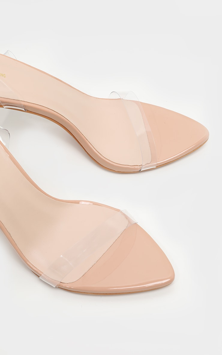 Nude Point Toe Clear Strappy Heeled Sandal 4