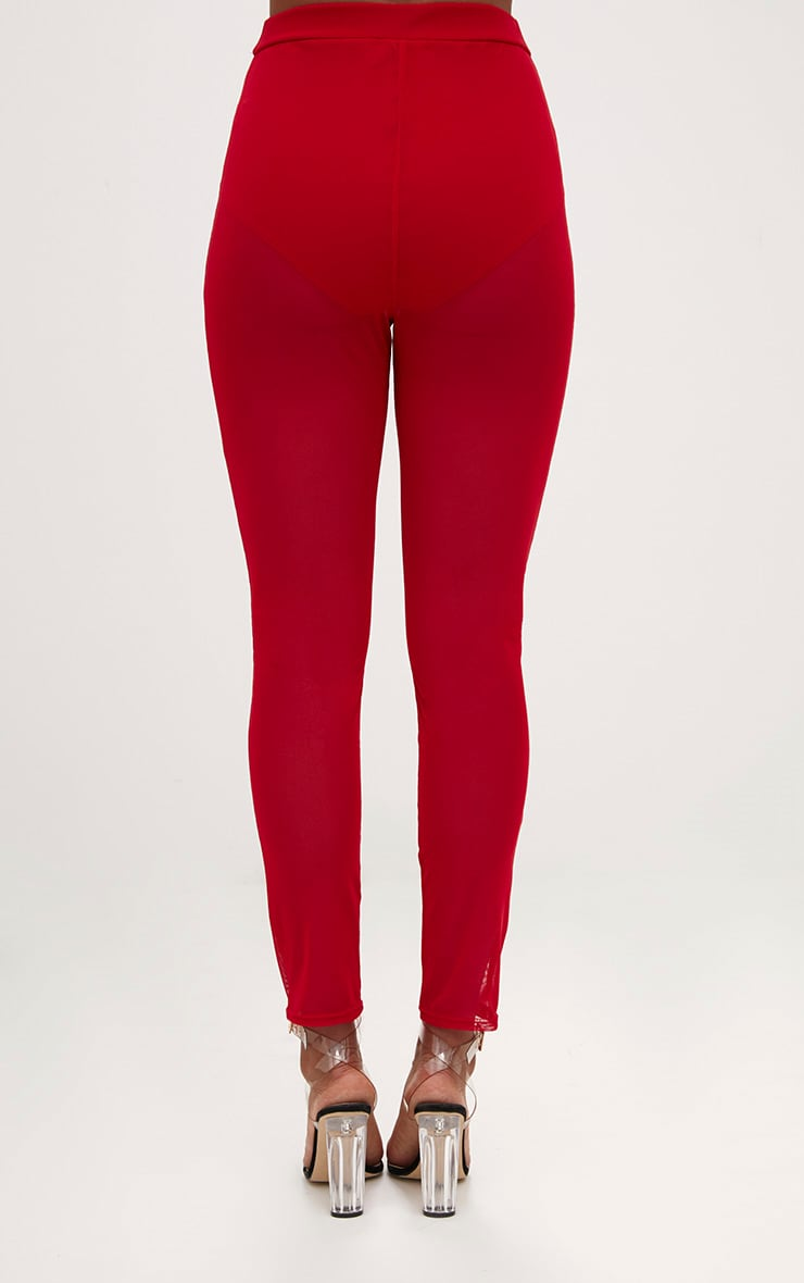 Red Mesh Front Seam Skinny Trousers 4