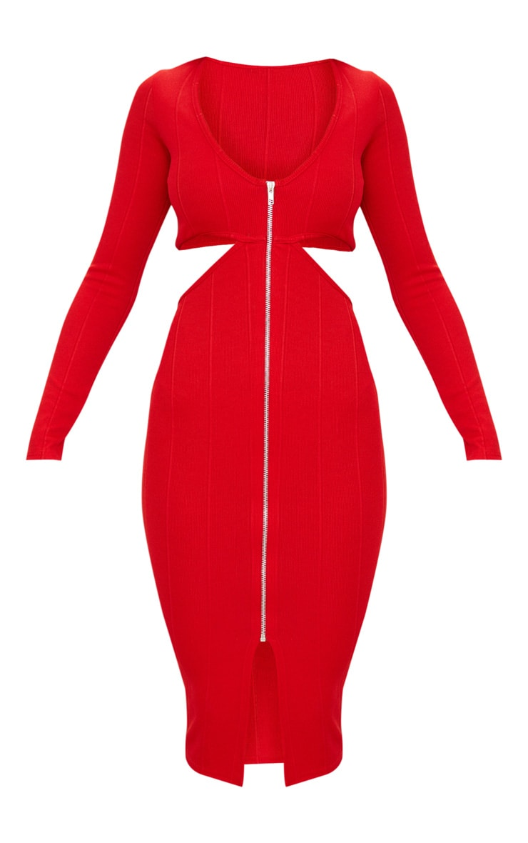 Red Bandage Zip Detail Cut Out Long Sleeve Midi Dress 3