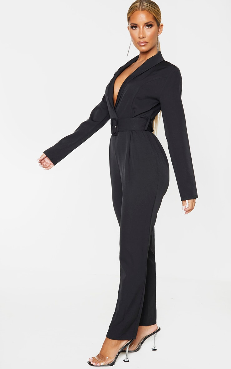 Black Lapel Detail Belted Jumpsuit 4