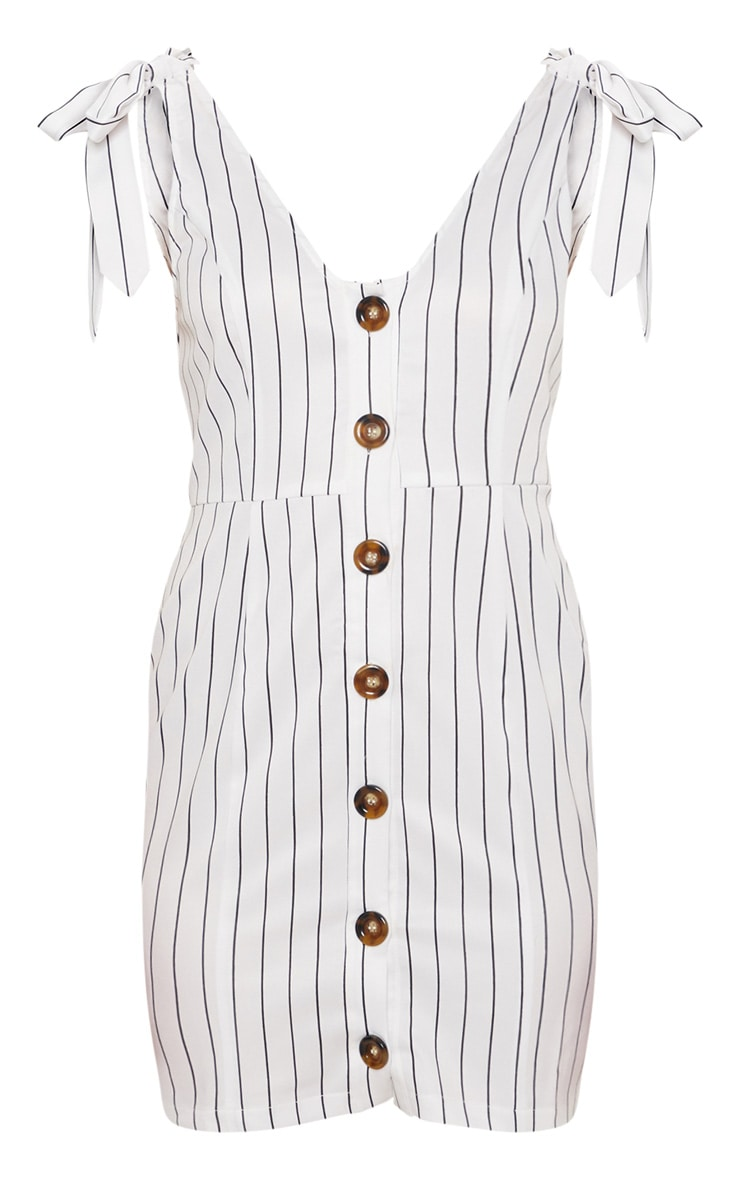 White Pin Stripe Button Up Tie Strap Detail Bodycon Dress 3