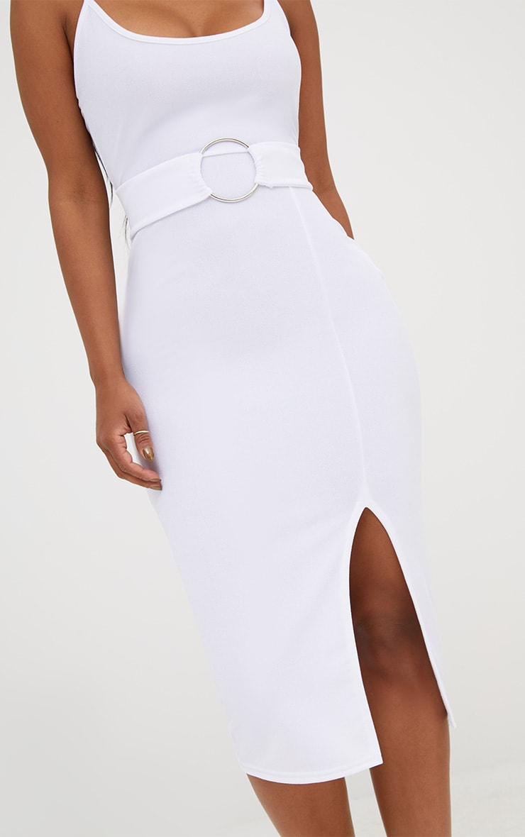 Shape White Front Split O-Ring Midi Dress 5