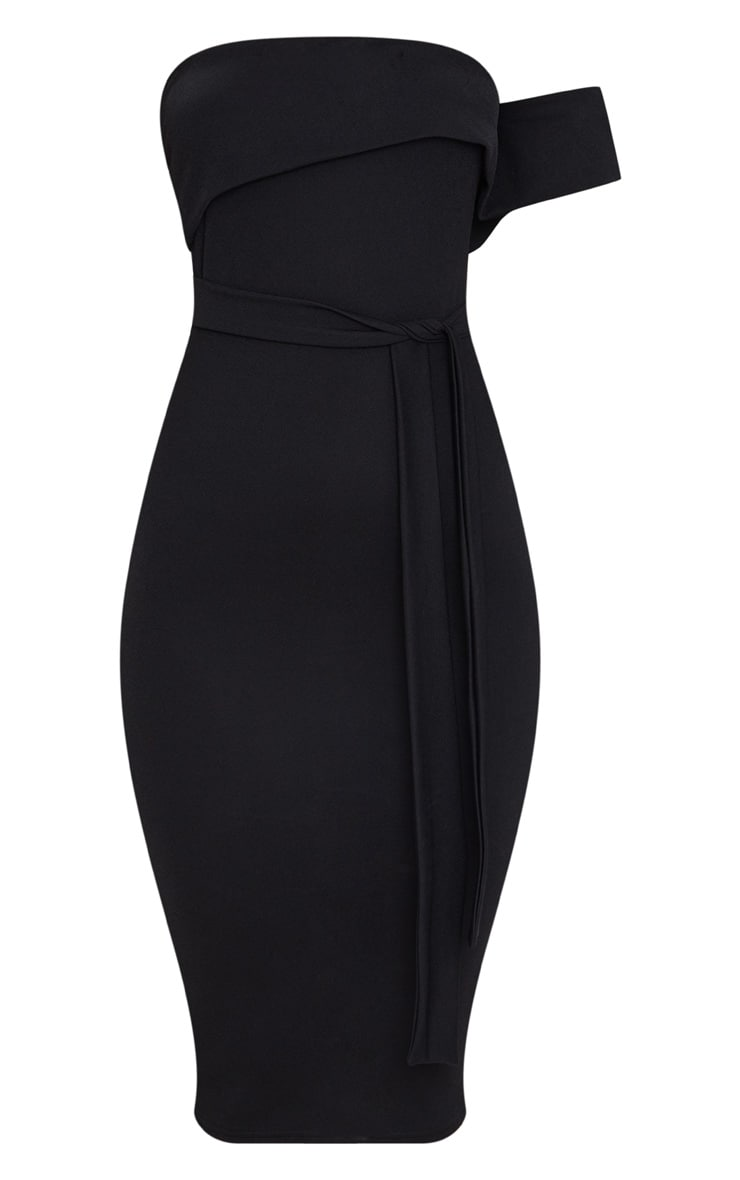 Black One Shoulder Bardot Tie Detail Midi Dress 3
