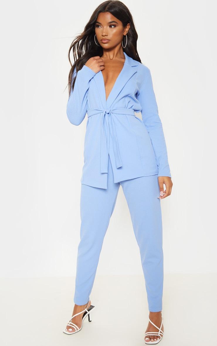 Cornflower Blue Belted Blazer 4