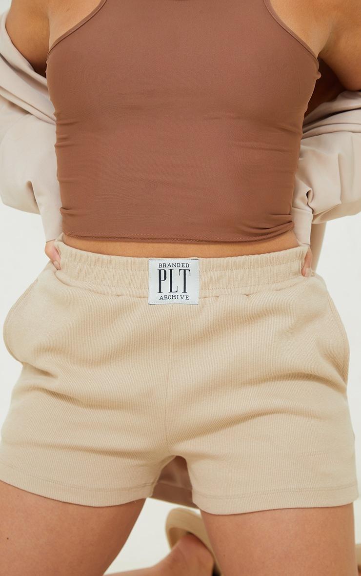 PRETTYLITTLETHING Petite Stone Ribbed Lounge Shorts 5