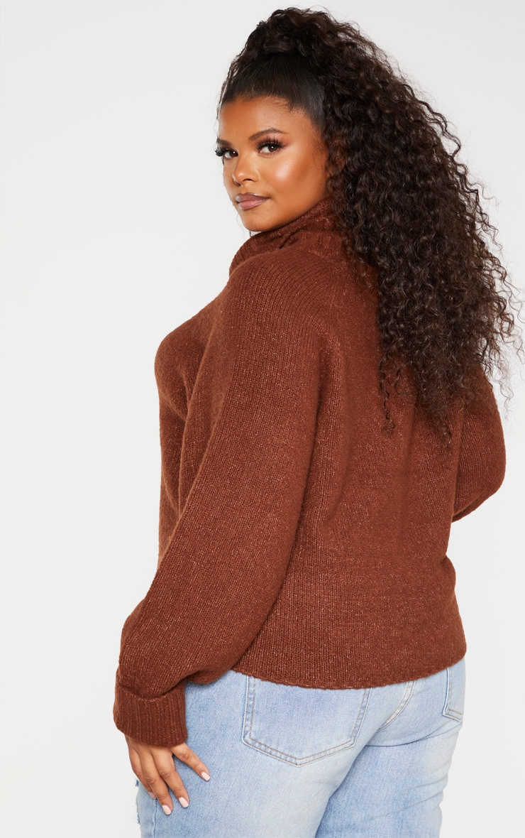 Plus Brown Cowl Neck Mid Length Jumper  2