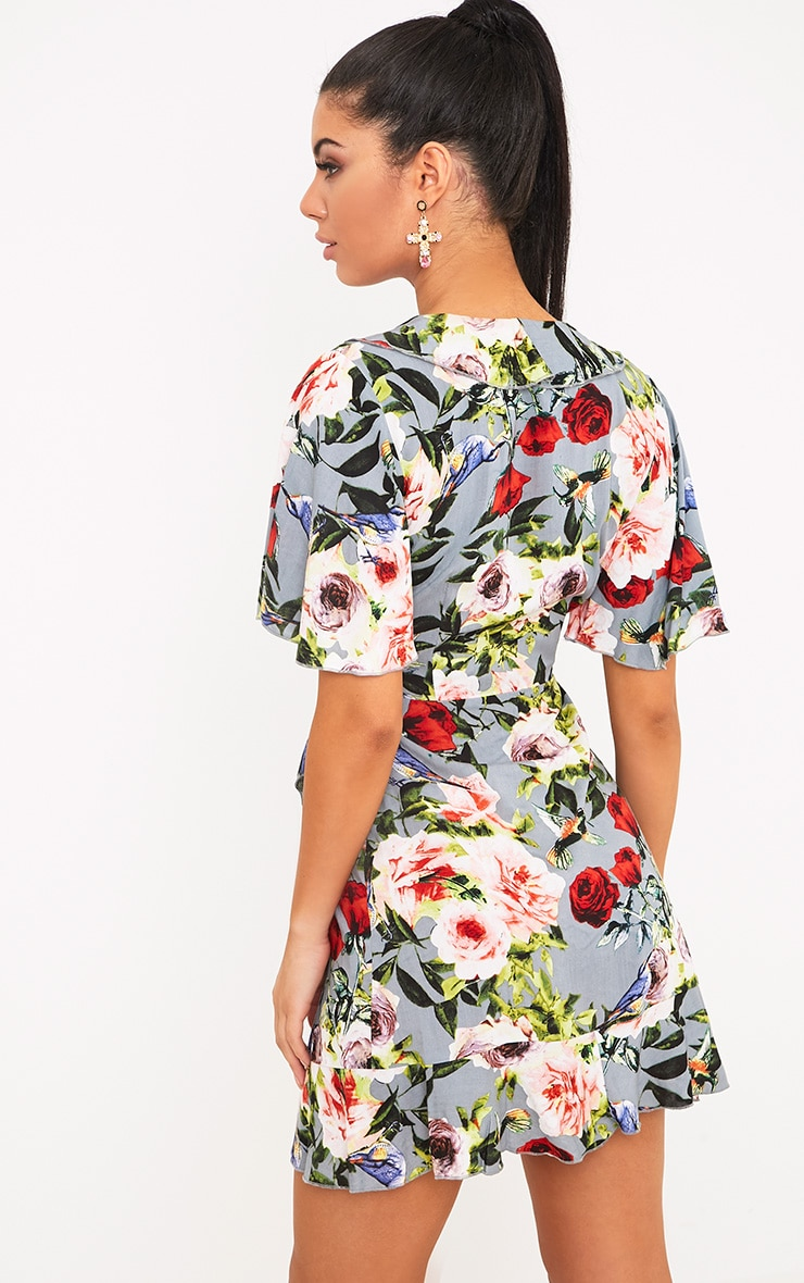 Ammie Grey Floral Wrap Front Tea Dress 2