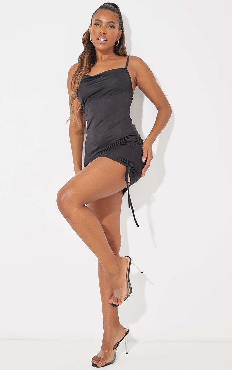 Black Cowl Neck Ruched Side Bodycon Dress image 4