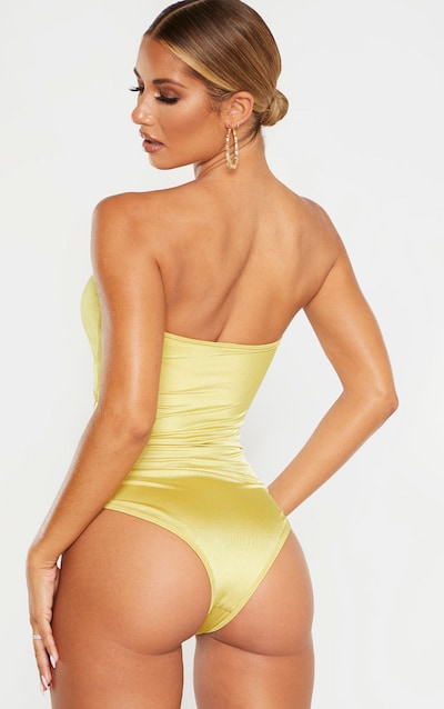 Olive Bamboo Ring Strapless Cut Out Swimsuit