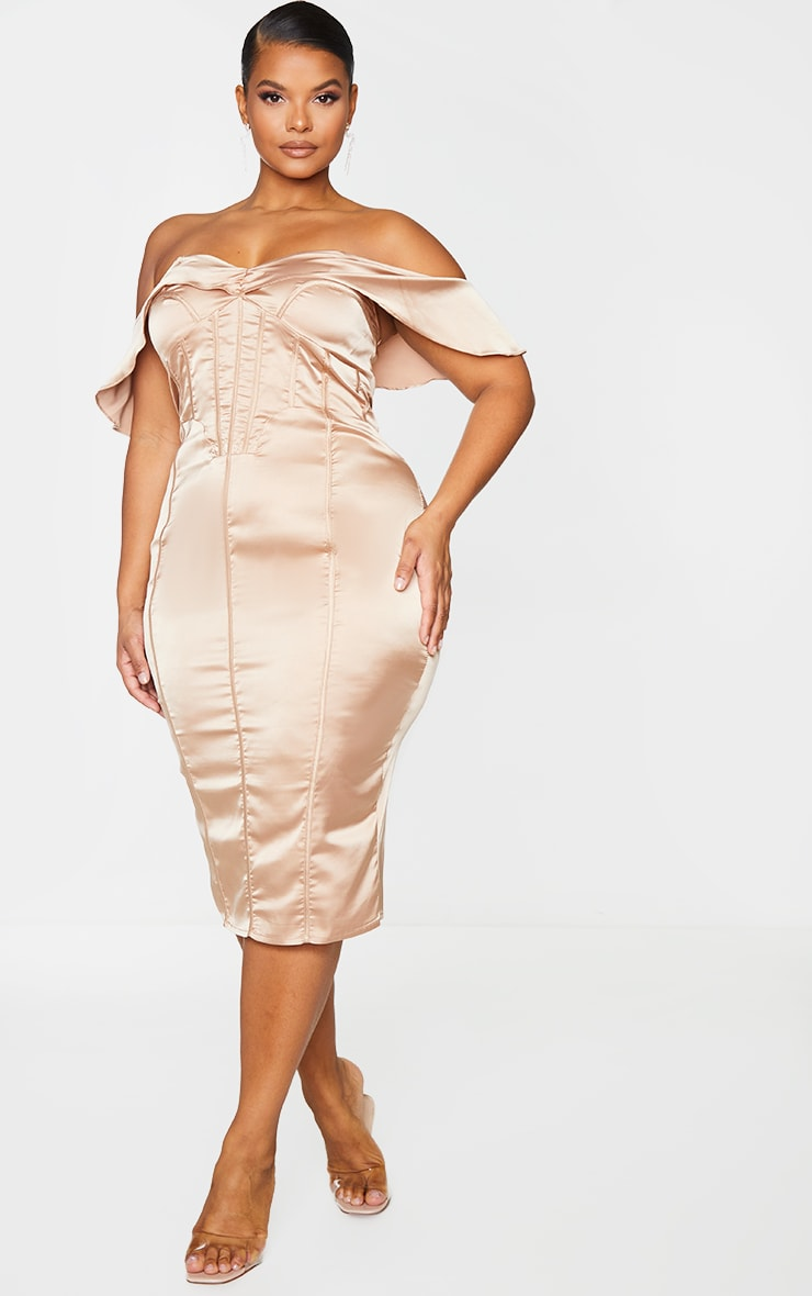 Plus Mocha Satin Corset Detail Bardot Midi Dress 3