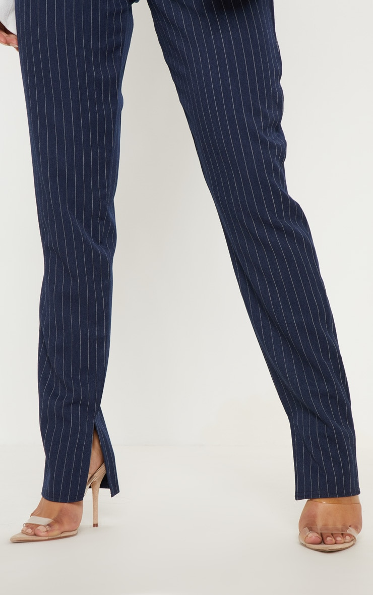 Navy Pinstripe Split Hem Pants 5