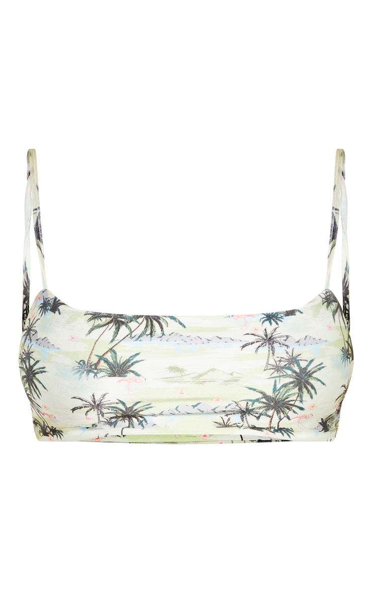 Plus Green Palm Print Straight Neck Bikini Top  2