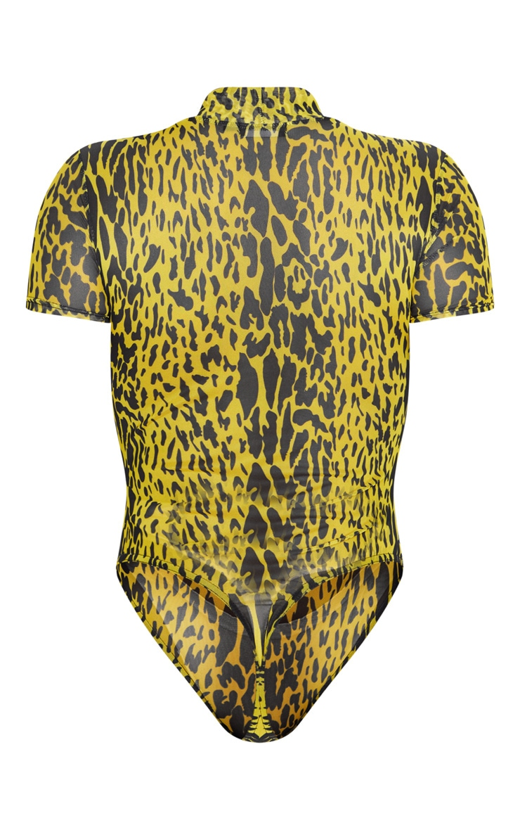 Yellow Leopard Print Mesh High Neck Short Sleeve Bodysuit 4