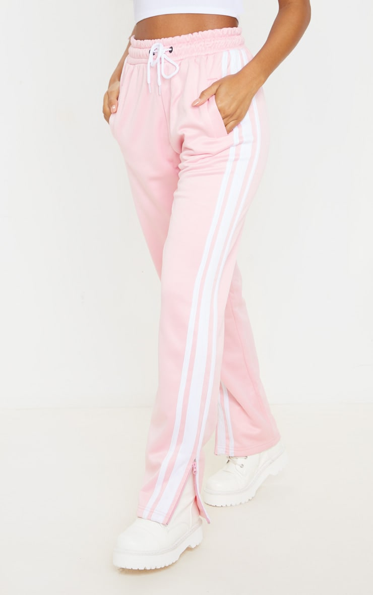 Baby Pink Zip Side Stripe Wide Leg Joggers 2