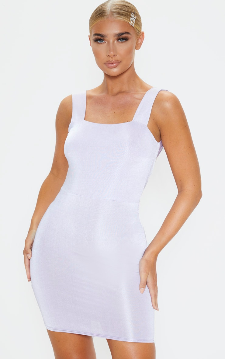 Lilac Metallic Slinky Ruched Back Bodycon Dress 2