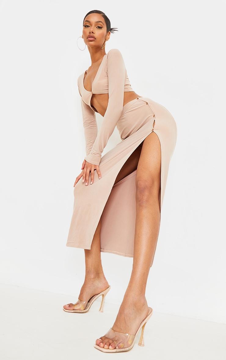 Stone Slinky Button Detail Split Leg Midaxi Skirt 1