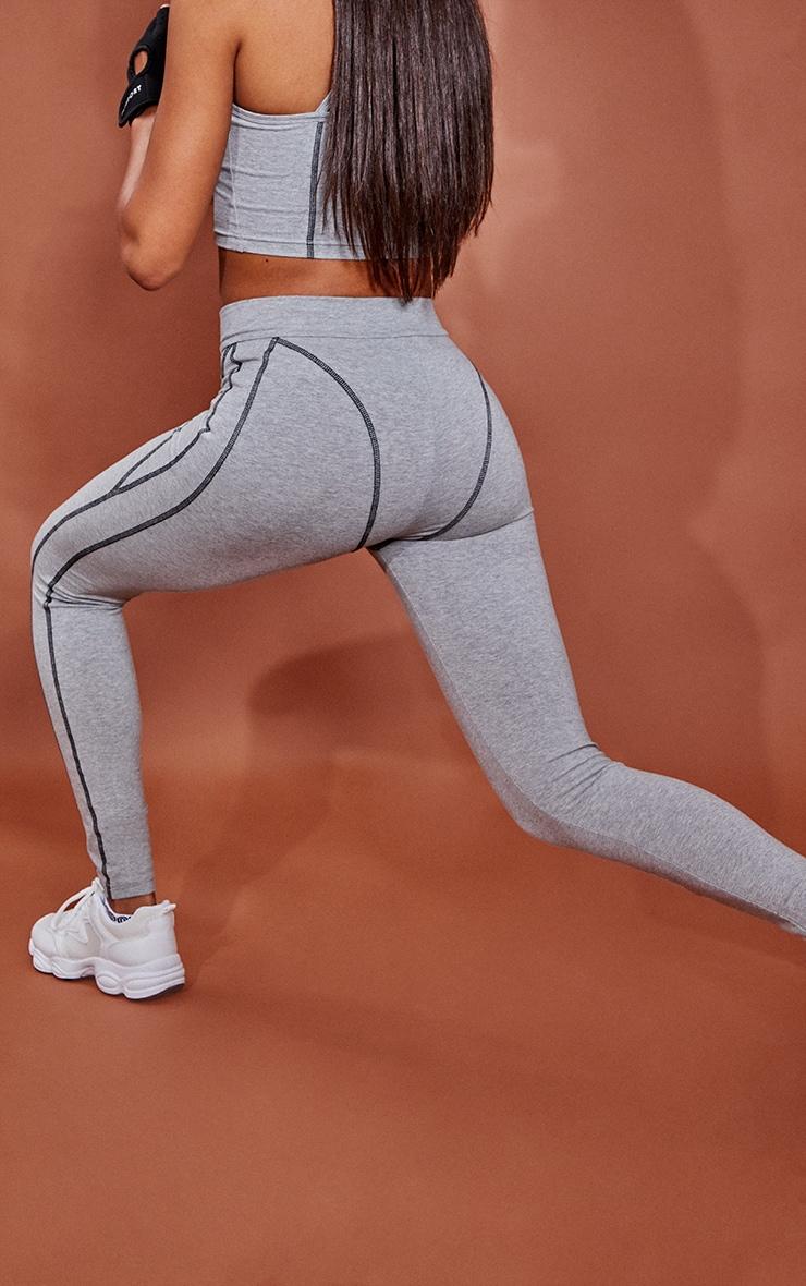 Grey Marl Cotton Luxe Stitch Detail Gym Leggings 3