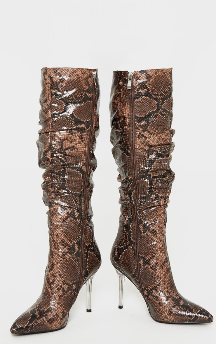 Brown Snake Knee High Clear Heel Square Toe Slouch Boot 3