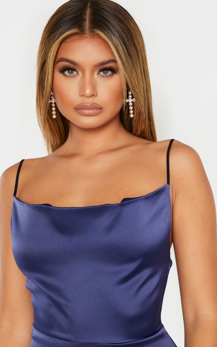 Midnight Blue Hammered Satin Frill Hem Detail Strappy Bodycon Dress 4