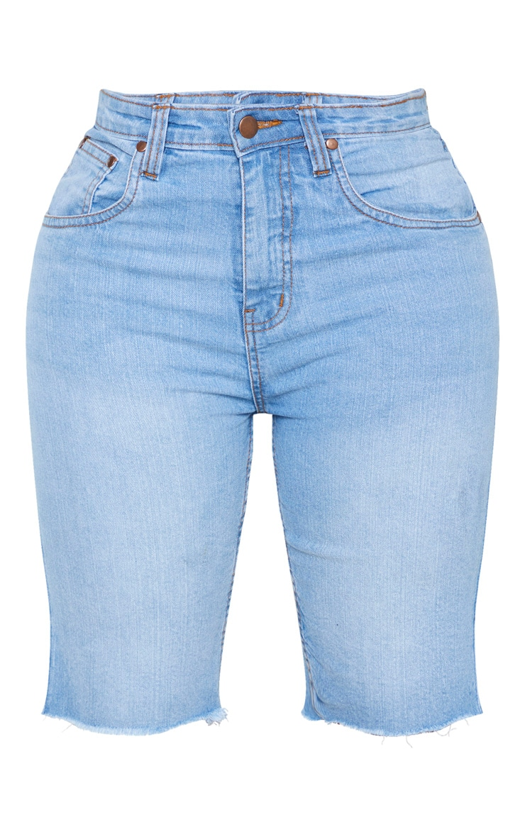 Shape Light Wash High Waisted Longline Denim Shorts 3