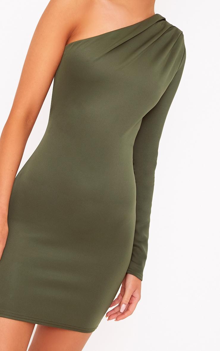 Khaki One Shoulder Ruched Bodycon Dress 5