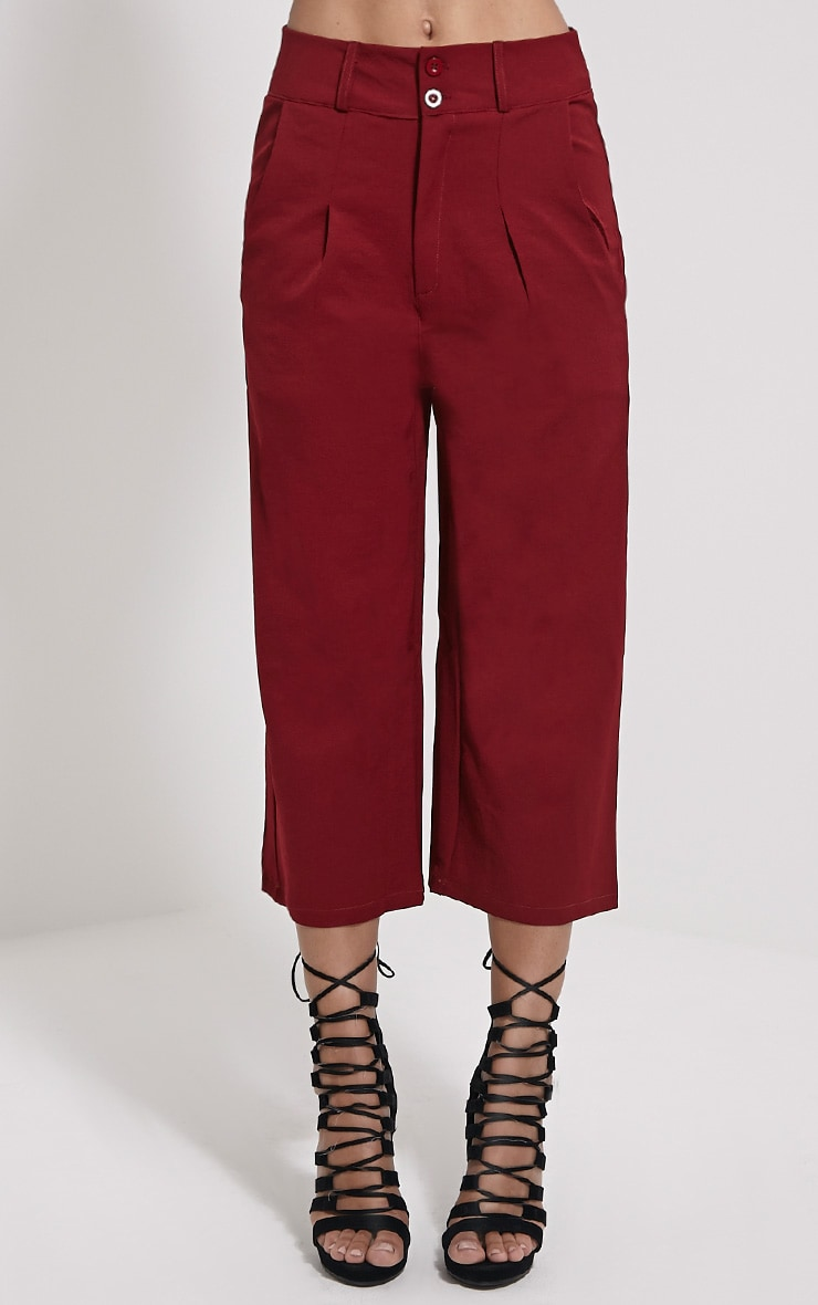 Harlow Burgundy High Waisted Culottes 2