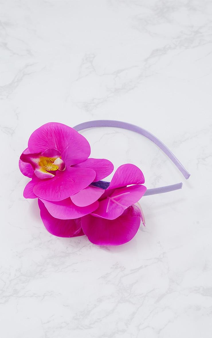 Serre-tête original à appliqué floral fuchsia 3