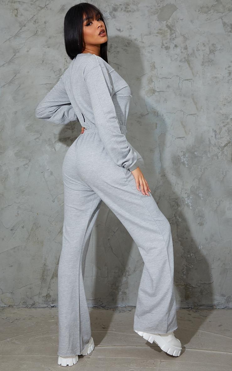 Grey Marl Seam Detail Wide Leg Sweat Jumpsuit 2