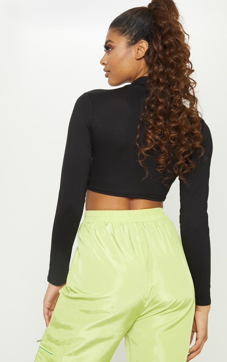 Tall Black  Long Sleeved High Neck Crop Top  2