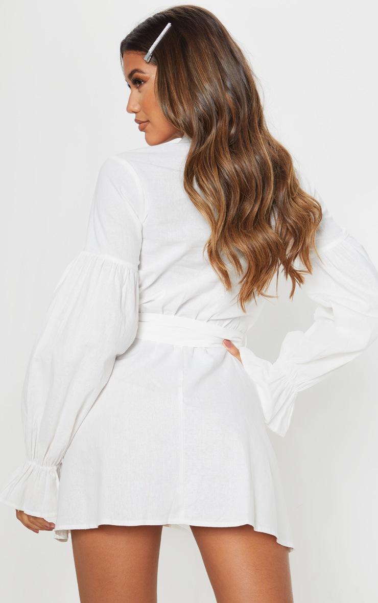 White Balloon Sleeve Tie Skater Dress 2
