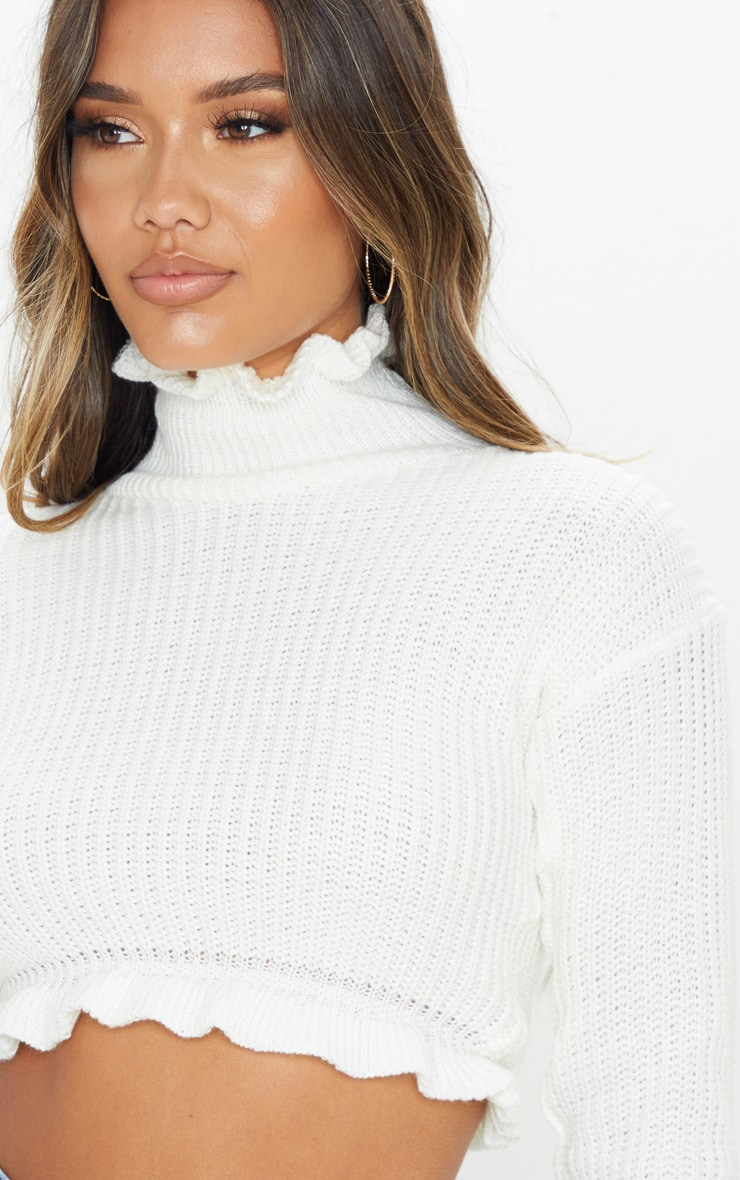 Ivory Knit High Neck Ruffle Trim Crop Sweater 5