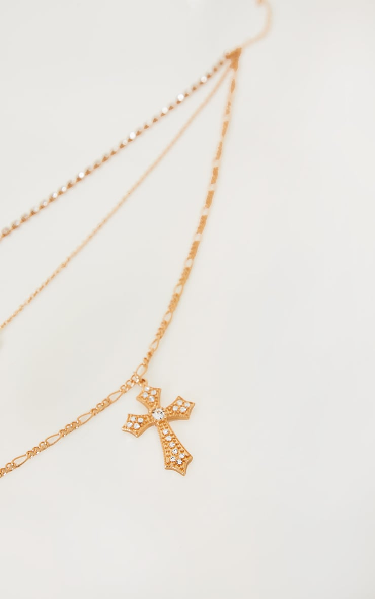 Gold Assorted Diamante Ride Or Die Layering Necklace 3