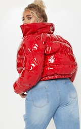 Plus Red Cropped Vinyl Puffer Jacket 2