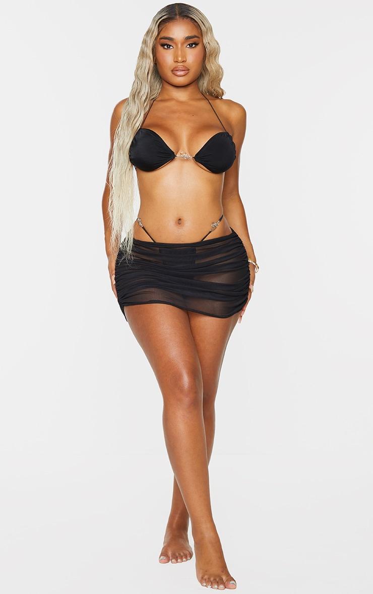 Shape Black Mesh Ruched Beach Skirt 1