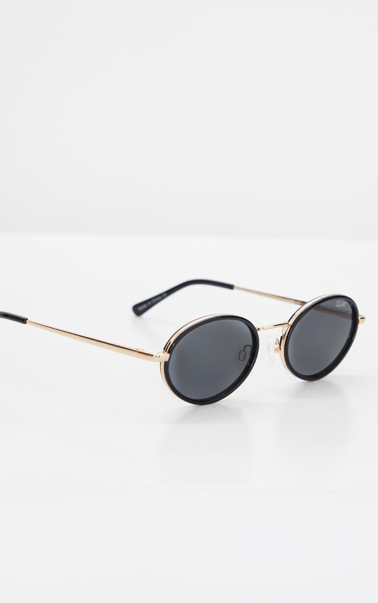 QUAY AUSTRALIA Black Round Gold Bar Line Up Sunglasses 2