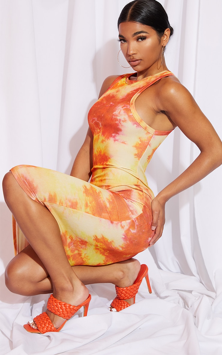 Orange Tie Dye Racer Neck Rib Midi Dress 3