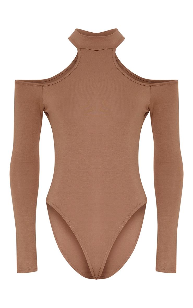 Hazel Camel Cut Out Shoulder Bodysuit 3