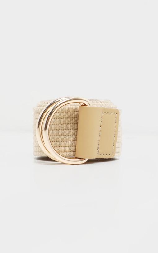 Beige Ribbed Tape Belt 2