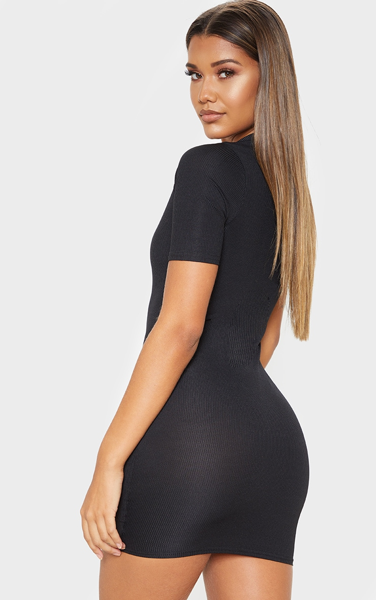 Black Ribbed Polo Shift Dress 2