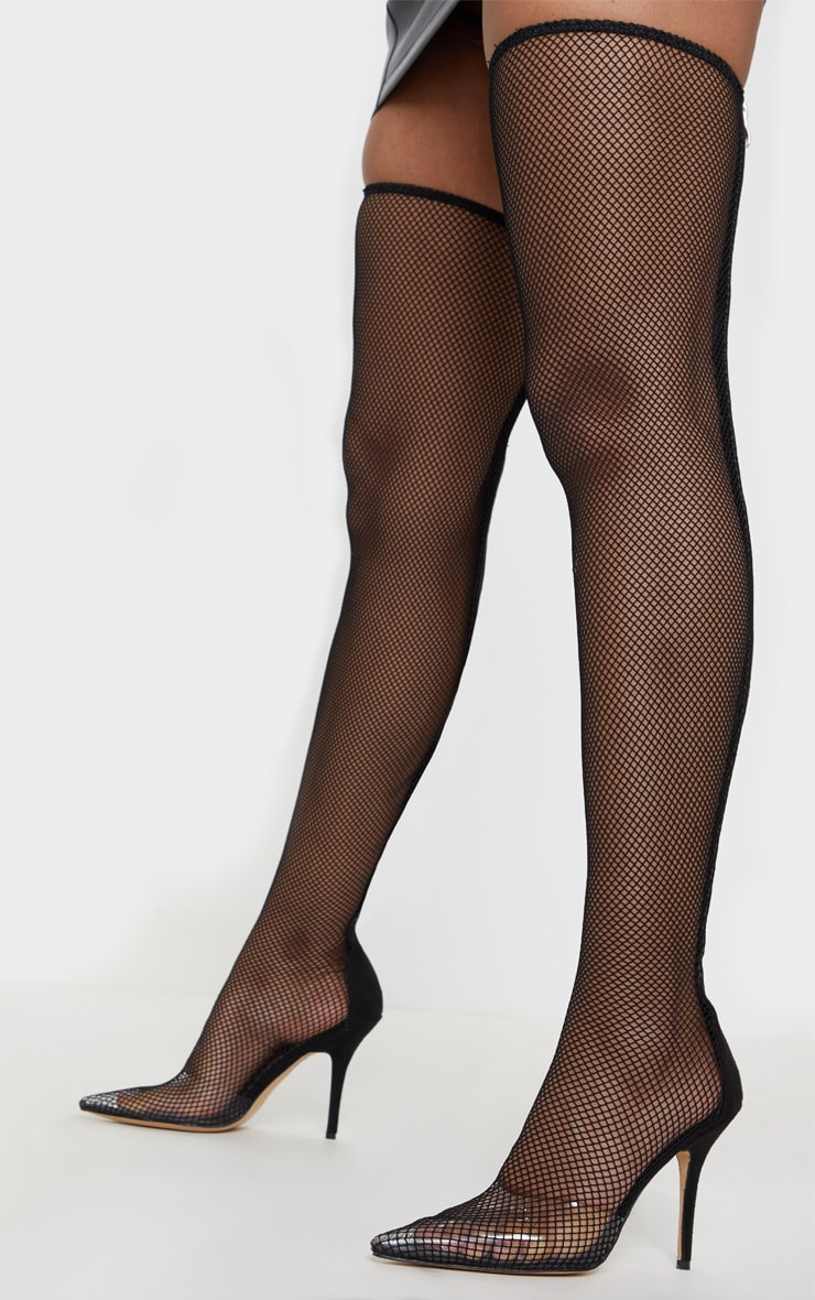 Black Thigh High Fishnet Boot 1