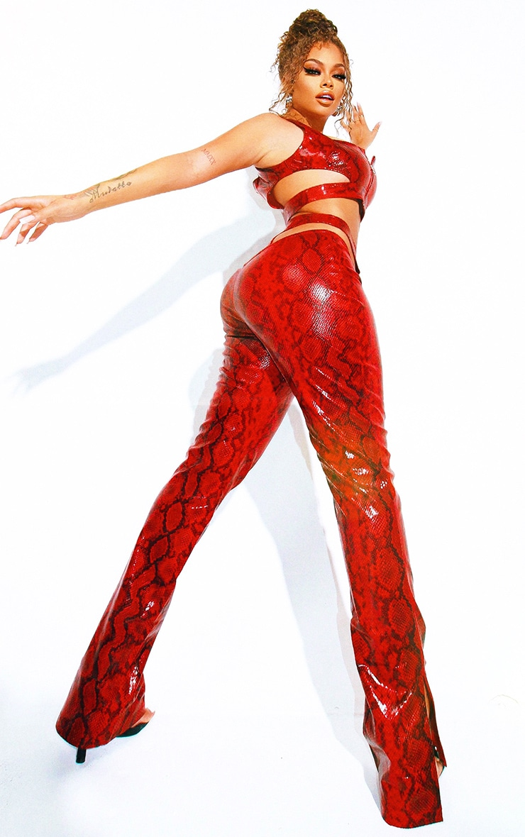 Red Snake Print Faux Leather Zip Front Cut Out Hip Straight Leg Trousers 2