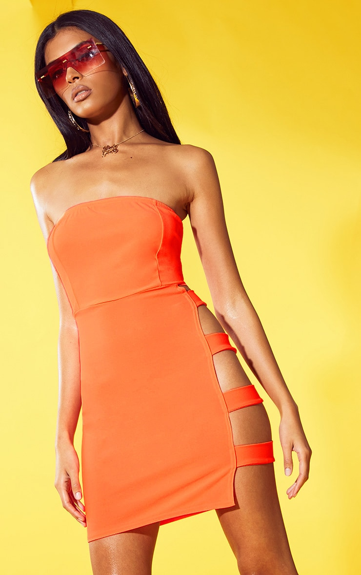 Neon Orange Strappy Extreme Split Bodycon Dress 1