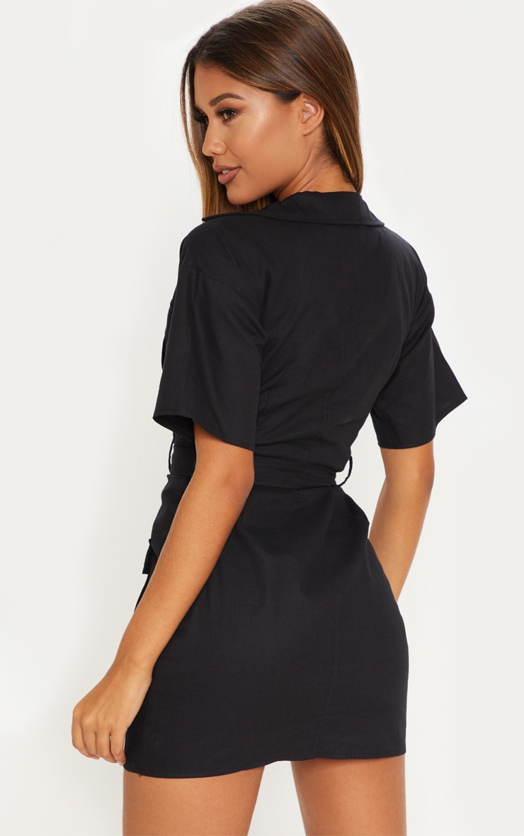 Black Cargo Utility Gold Buckle Pocket Detail Bodycon Dress 2
