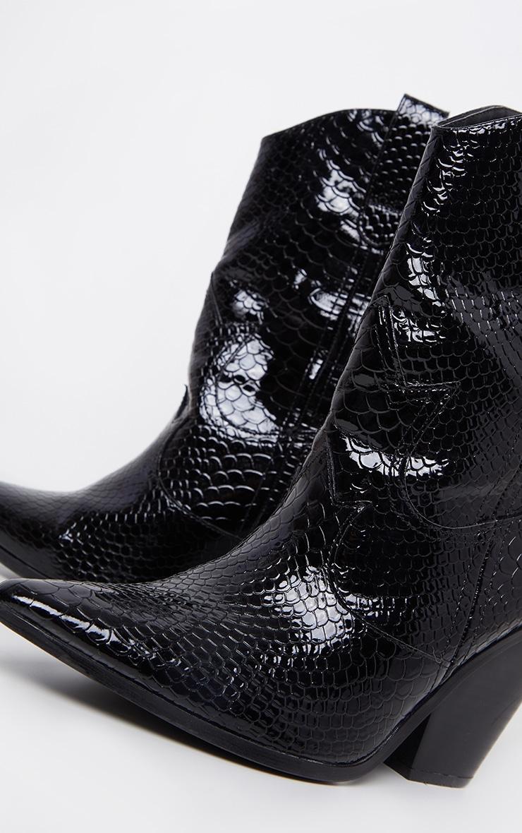 Black Croc Western Boot 7