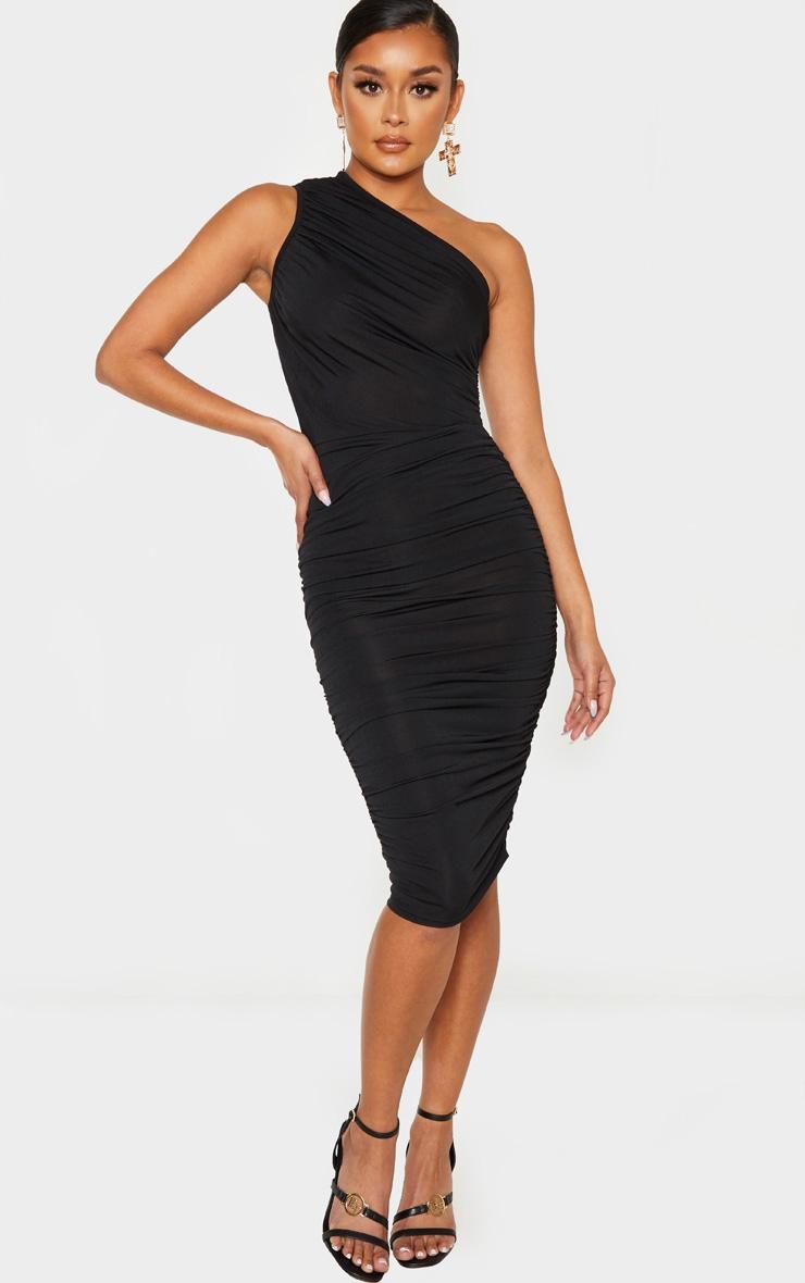 Black Slinky Ruched One Shoulder Longline Midi Dress 1